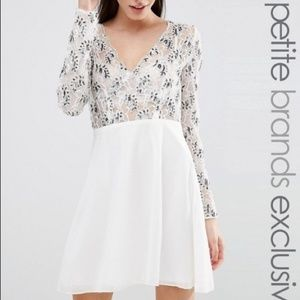 NWT ASOS Maya Petite Embellished lace White dress